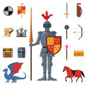 Medieval kingdom knights flat icons set - stock illustration