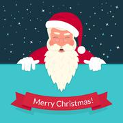 Smiling Santa Claus wearing red hat and glasses greeting card design Stock Illustration
