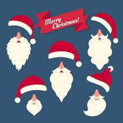 Christmas clothes collection of Santas hats with nose and white beards Stock Illustration