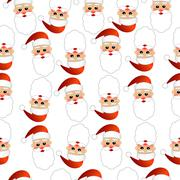 Seamless Christmas background with Santa Claus - stock illustration