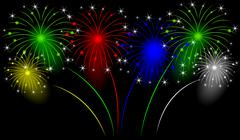 Stock Illustration of Holiday fireworks on a black background