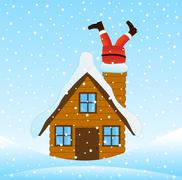 Santa Claus climbing the chimney of a wooden house - stock illustration