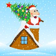 Santa Claus on the roof of a house with a Christmas tree - stock illustration