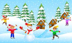 Children mold the snowman on the edge of the forest Stock Illustration