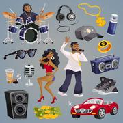 Rap Music Elements - stock illustration