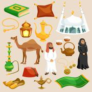 Arabic Culture Set - stock illustration