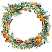 Vector watercolor christmas wreath - stock illustration