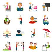 People Reading Icons Set Stock Illustration