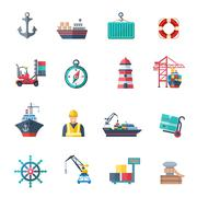 Sea Port Icons Set Stock Illustration