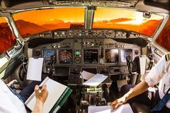 Cockpit at sunset Stock Photos