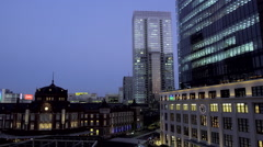 Night View of Tokyo Station and KITTE Building Stock Footage