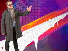 Middle-aged man in coat and scarf looking forward on techno style background - stock photo
