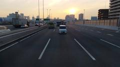 Great Sunset shot rear POV leaving Tokyo Japan Stock Footage