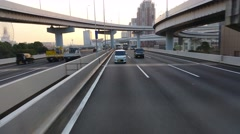 Tokyo Freeway rear POV at Sunset Stock Footage