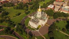 Hartford Aerial backwards from State Capitol building then panning up - stock footage