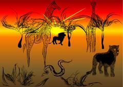 tanzania safari - stock illustration