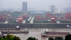 Container port on Yangtze river Stock Footage