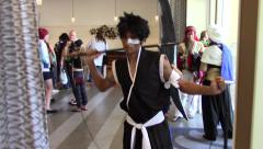 A guy dressed as anime characters - Cosplay Stock Footage