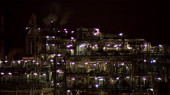 Part of oil refinery lit all night Stock Footage