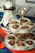 Chocolate almond dessert - stock photo