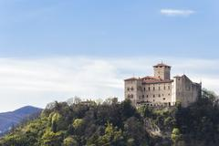Rocca Borromeo fortress at Angera on lake maggiore, Italy - stock photo
