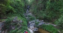 Huay Kaew aerial flight towards falls - stock footage