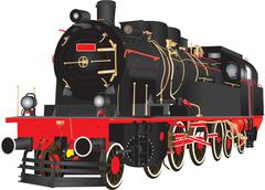 Stock Illustration of Steam Freight Locomotive