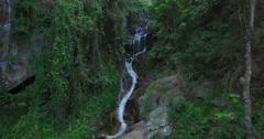 close aerial towards huay kaew waterfalls - stock footage