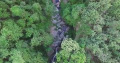 moving birds eye over Huay Kaew waterfalls - stock footage