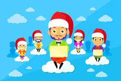Cartoon Man and Woman New Year Christmas Santa Hat People Group Sitting on Stock Illustration