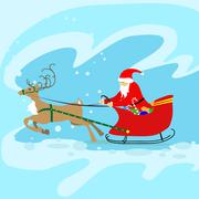 Santa Claus Sleigh Reindeer Christmas New Year Card - stock illustration