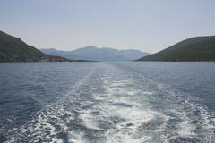 View from Herceg Novi bay to Kumbor neck, Montenegro. - stock photo