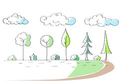 Stock Illustration of Green Trees Hand Draw Park Simple Line
