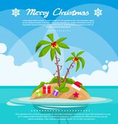 Stock Illustration of New Year Christmas Vacation Holiday Tropical Ocean Island With Palm Tree