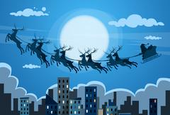 Santa Claus Sleigh Reindeer Fly Sky over City Skyscraper Night View Cityscape Stock Illustration