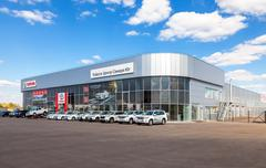 Office of official dealer Toyota in Samara, Russia - stock photo