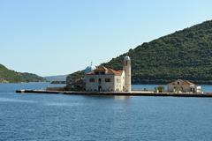 Our Lady of the Rock island and Church, Montenegro. - stock photo