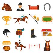 Flat Color Icons Set With Horse Equipment - stock illustration