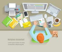 Stock Illustration of Accounter Workplace Flat