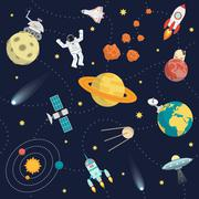 Space Background Flat - stock illustration