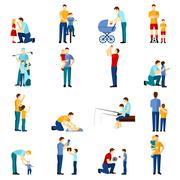 Fatherhood icons set - stock illustration