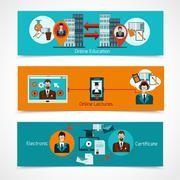 Online Education Banner Set - stock illustration