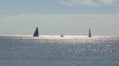 Sailboats at sea Stock Footage