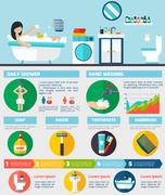 Personal hygiene infographic report layout - stock illustration