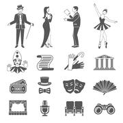 Theatre Icons Set Stock Illustration