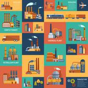 Icons Set With Different Types Of  Industrial Enterprises - stock illustration