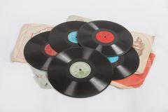 Pile of vinyl records - stock photo