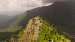 Smoky Mountains Aerial low over Chimney Tops summit - stock footage