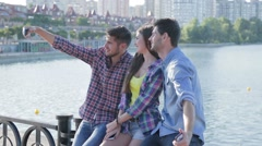 Making a selfie with friends - stock footage