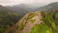 Smoky Mountains Aerial besides Chimney Tops summit - stock footage
